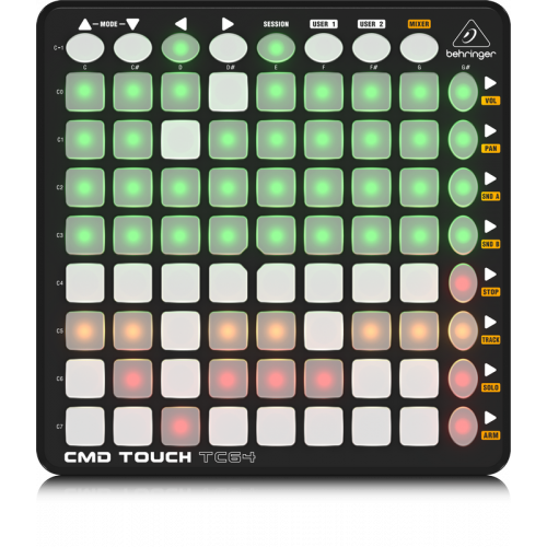 CMD TOUCH TC64  CLIP LAUNCH CONTROLADOR CON 64 BOTONES CON LED MULTICOLOR   BEHRINGER