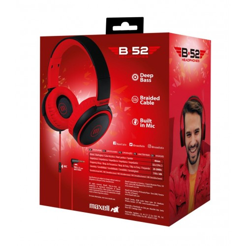 HP-B52 FULL SIZE HEADPHONE W/MIC BLACK/RED